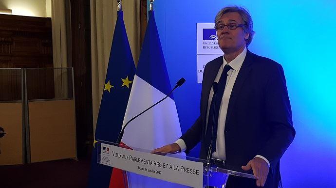 Stéphane Le Foll, lors de ses voeux aux parlementaires et à la presse mardi 24 janvier 2017.