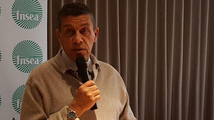 Xavier Beulin président de la FNSEA, lors de ses voeux présentés jeudi 5 janvier 2017.