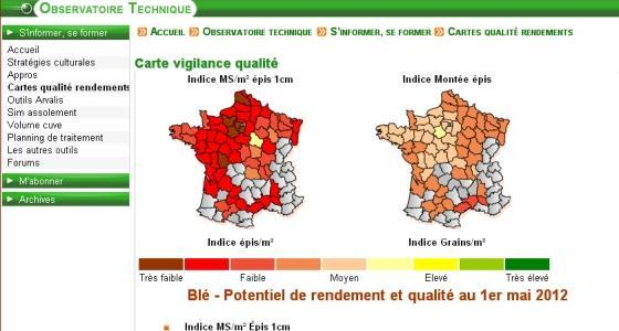 Potentiels qualit et rendement du bl - Mises  jour 2012 des cartes de prvisions