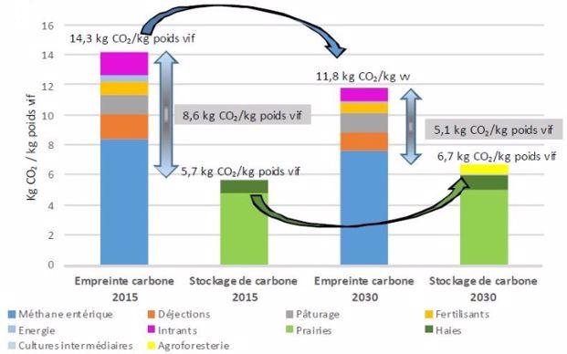 Objectifs de réduction del'empreinte carbone des élevage bovins viande