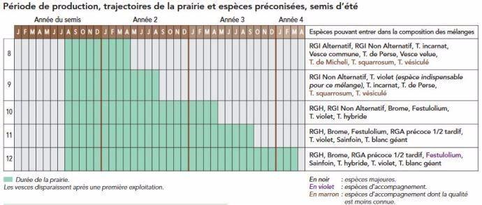 5 types de mélanges fourragers pour des prairies de moins de trois ans semés en été.
