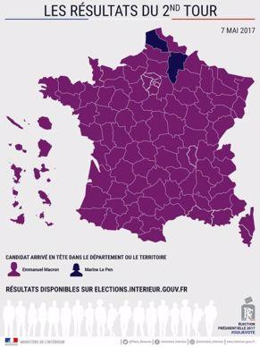 Carte de France des résultats par département du second tour de la présidentielle 2017