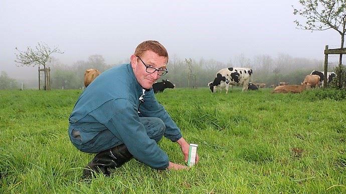Pour gérer la rotation des paddocks, François mesure régulièrement la hauteur de l'herbe. Le but est d'offrir une herbe de qualité constante aux animaux tout en favorisant sa pousse.