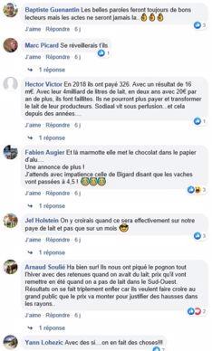 post facebook sur la page de web agri prix du lait a  400€ sodiaal