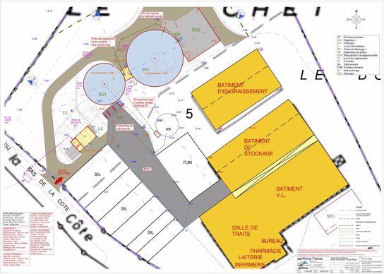 Plan de l'unité de méthanisation du Gaec des Erables (52)