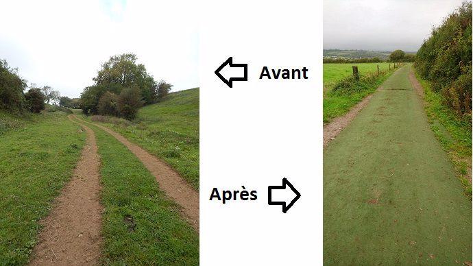 chemin d acces aux patures avant et après travaux chez arnaud torchy