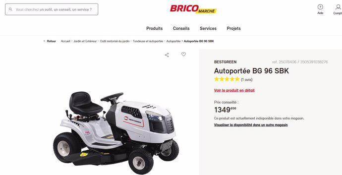 capture écran site Bricomarché