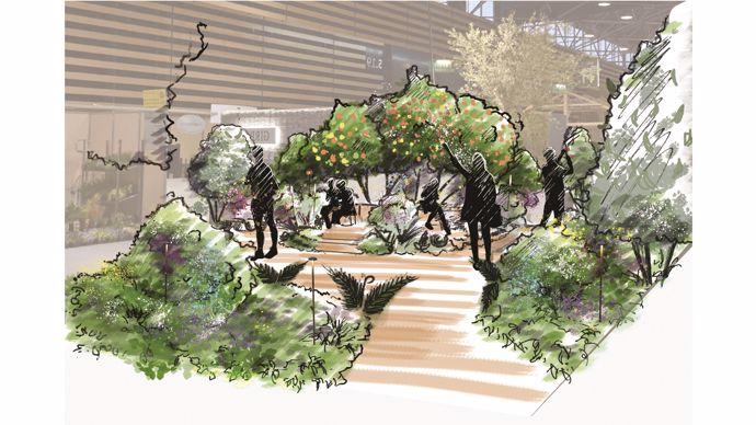 « Nous imaginons un jardin, où trône au centre l'archétype de la table revisité. Elle s'articule autour un bosquet de verger en profusion de fruits. C'est le cœur, le centre de la vie, le noyau de notre jardin. Tout le monde est invité à y rentrer et à s'attabler. On peut s'asseoir et regarder dans la direction que l'on veut, discuter intimement, ou contempler le grand marasme du salon s'agiter autour de nous. Le jardin est le lieu pour tous les mouvements des visiteurs, son ergonomie est faite pour se rencontrer et se croiser avec fluidité. »