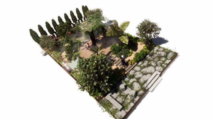 « Notre projet s'articule autour d'un ouvrage central imposant qui représente la genèse du jardin. Cette structure aérienne « capture » l'eau présente sous plusieurs aspects (rosée, buée, eau de pluie, brouillard). Cette eau récupérée est stockée dans plusieurs bassins. A partir de là, l'eau se diffuse progressivement dans le jardin et circule par un jeu de fontaines, de bassins et de rigoles. Par son influence, son intensité et son utilisation, l'eau façonne une végétation spécifique en dessinant une succession de jardins. »