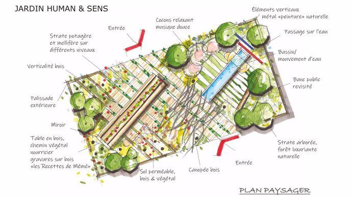 « Nous proposons un jardin vertueux et résilient en accord avec la nature. Les composantes du jardin prendront naissance sous nos pieds, offrant des sols perméables, naturels, fertiles et nourriciers. La biodiversité sera symbolisée par une canopée, véritable arche architecturale qui vous invitera à découvrir l'espace bien-vivre et à vous asseoir à la « table » du partage et de la convivialité noyés et alimentés par le théâtre nourricier, symbole de la terre à l'assiette. Le jardin du bien-être en opposition, et structuré autour de la table d'eau, symbole de la vie. »