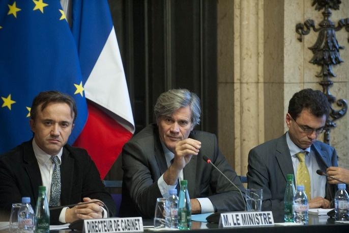 Stéphane Le Foll entouré de son direteur de cabinet, Philipe Manguin, lors du CSO du 15 décembre 2013. Il présentait les choix du gouvernement sur la mise en oeuvre de la Pac en 2015 et les aides couplées.