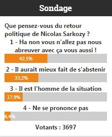 Sondage sur le retour de Nicolas Sarkozy en politique