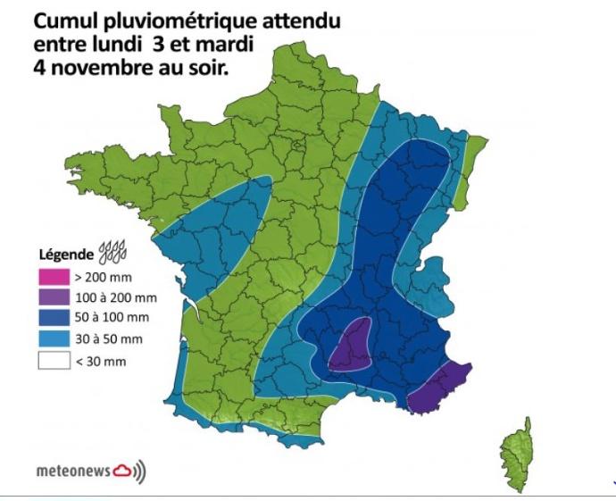 Cumul pluviométrique attendu entre lundi 3 et mardi 4 novembre au soir.