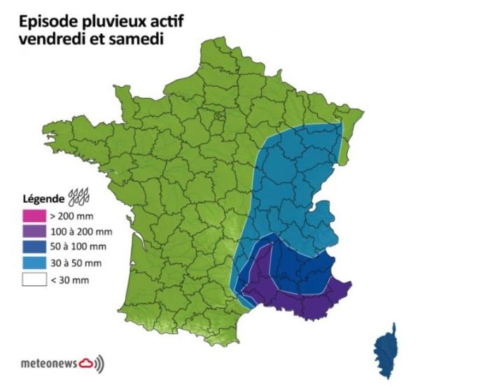 Pluie sur le sud-est de la France vendredi 14 et samedi 15 novembre