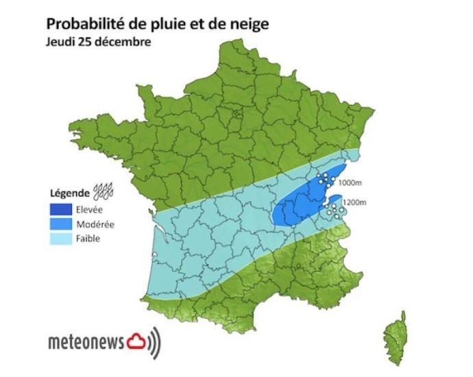 Probabilité de pluie et de neige, jeudi 25 décembre 2014.
