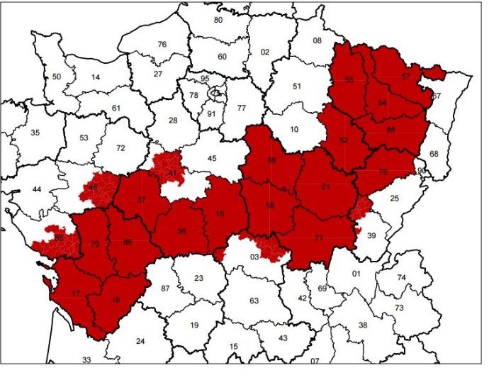 Les départements et cantons en zone intermédiaire.