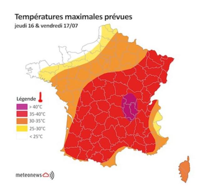 Les températures attendues sur la France jeudi et vendredi.