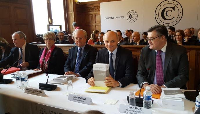 Les représentants de la Cour des comptes, mercredi 10 février 2016, lors de la présentation de leur rapport public annuel.