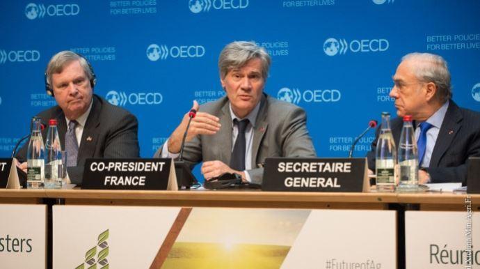 Stéphane Le Foll, ici lors de la réunion des ministres de l'agriculture de l'OCDE début avril, est ministre de l'agriculture depuis 4 ans.