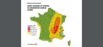 Épisode de vents violents dans le Centre-Est et foehn dans les Alpes