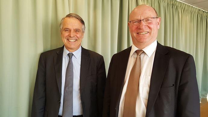Alain Jeanroy, directeur de la CGB et Eric Lainé, président de la CGB, lors d'un point presse jeudi 1er décembre 2016.