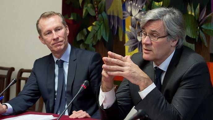 Guillaume Garot et Stéphane Le Foll, le 17 janvier 2017, lors du Conseil national de l'alimentation.