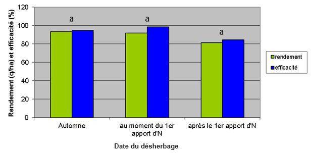 Figure 1: Effet du positionnement des herbicides, par rapport au premier apport azoté, sur le rendement et l'efficacité sur ray-grass (3 essais)