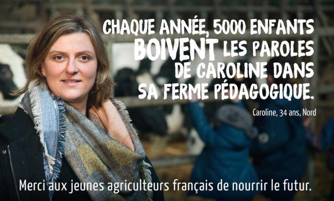 Caroline, sur l'affiche de la campagne de communication du syndicat JA