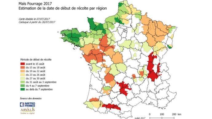 Estimation par région de la date de début de récolte des maïs fourrages 2017