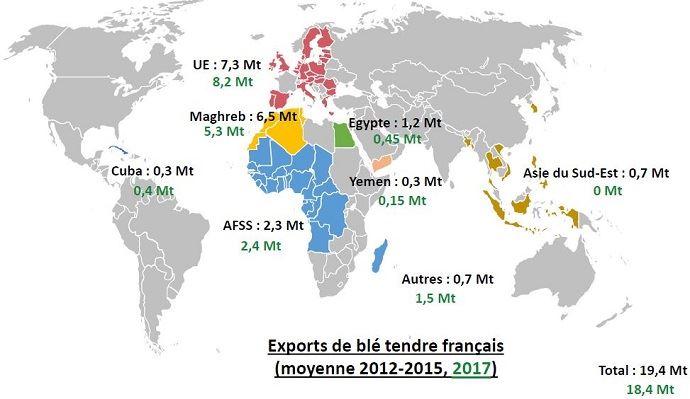 Potentiel d'export des blés français (en noir les exportations moyennes 2012-2015, en vert, le potentiel 2017)