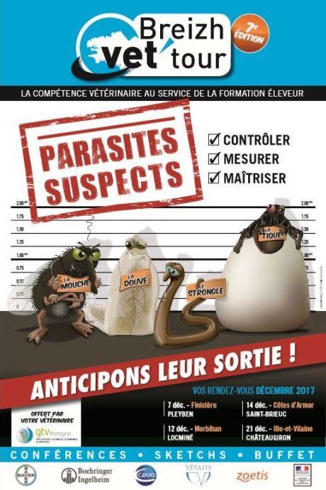 Sous formes de conférences et sketchs, les vétérinaires du GTV Bretagne vous informent et vous forment à la gestion du parasitisme bovin à l'occasion du Breizh vet'tour 2017