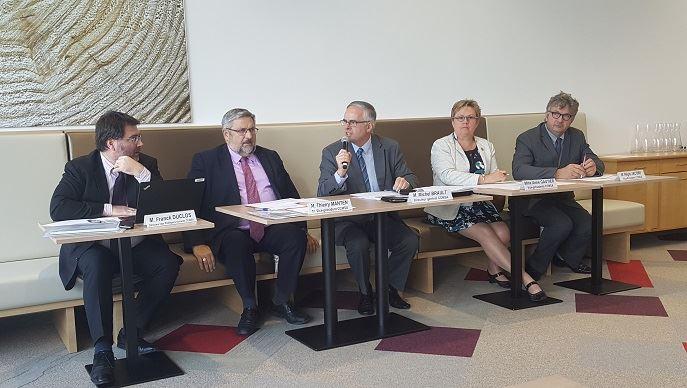 Les représentants de la CCMSA, le 10 octobre 2017, dans les nouveaux locaux du siège sociale à Bobigny.