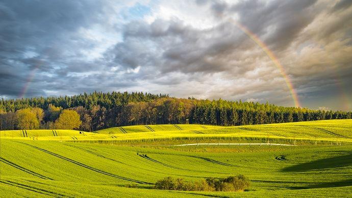 Paysage agricole avec arc en ciel