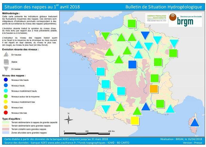 Etat des nappes phréatiques au 1er avril 2018 en France.