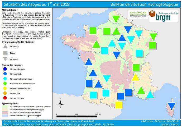 Etat des nappes phréatiques au 1er mai 2018 en France.