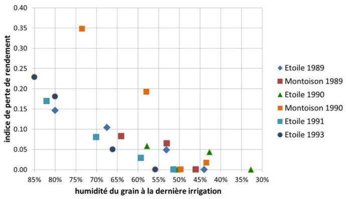 Perte de rendement en maïs grain selon l'humidité du grain à la dernière irrigation -essais Drôme (26) - AGPM