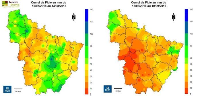 Cumul de pluies avant et après le 14/08/2018