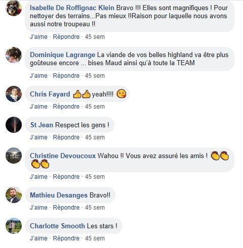 posts facebook sur page de la highland team