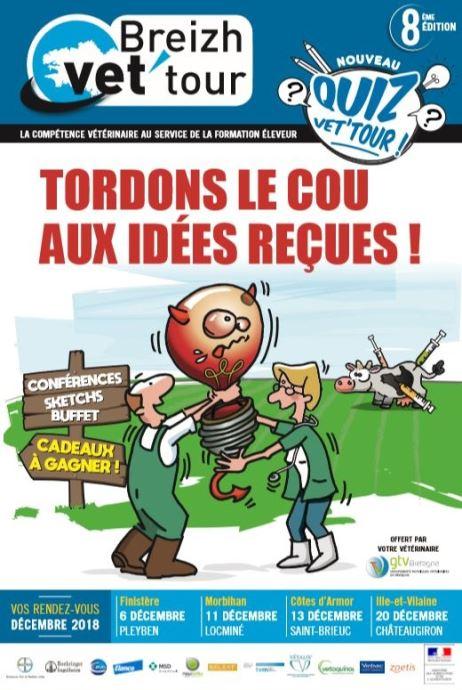 Sous forme de conférences et sketchs, les vétérinaires du GTV Bretagne vous informent et vous forment sur des thématiques de santé animale à l'occasion du Breizh vet'tour 2018