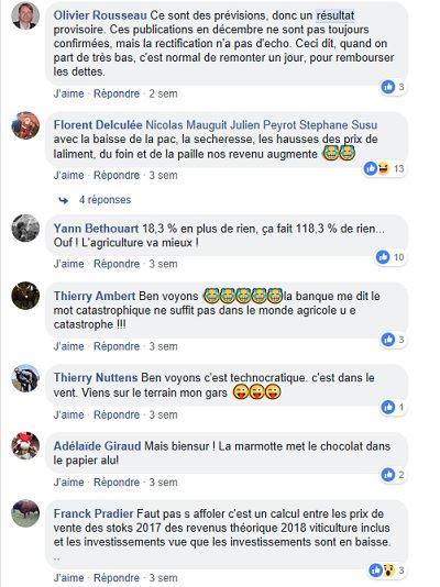 posts facebook sur les revenus agricoles 2018
