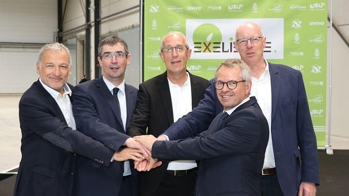 De gauche à droite: Pascal Mombled, directeur général de Semences de France, Bertrand Hernu, président d'Advitam, Étienne Regost, directeur d'Exélience, Jean-Charles Deschamps, président d'Exélience et de Nat'Up et Jean-François Gaffet, président de Noriap