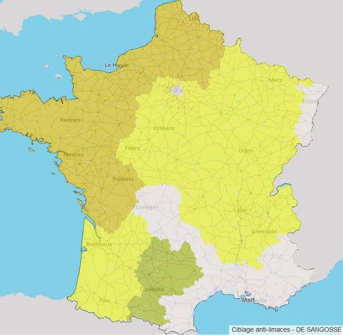 Carte du risque limaces pour le blé