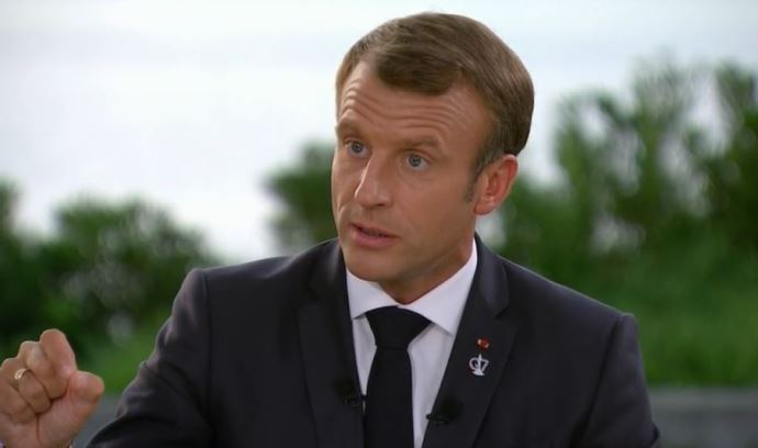 Emmanuel Macron, lors de son interview accordée à France 2 à l'issue du G7 à Biarritz.