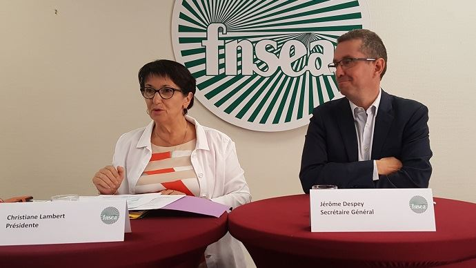 Christiane Lambert et Jérôme Despey, lors de la conférence de presse de rentrée de la FNSEA, mercredi 4 septembre.