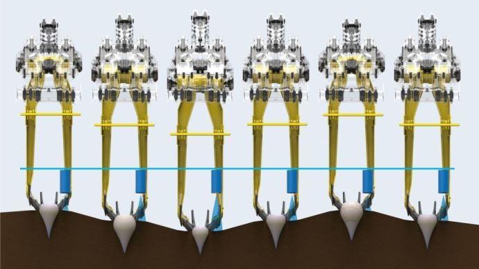 Le système R-contour règle la profondeur des socs grâce aux capteurs à ultrasons située à coté de chaque rangée de betteraves.