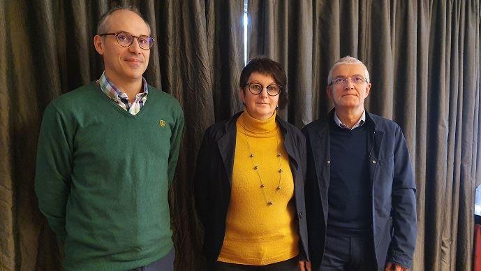 Les représentants de la Coordination rurale - Damien Brunelle, Yvette Lainé et Bernard Lannes - mercredi 15 janvier 2020 à Paris.