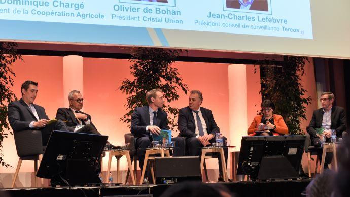 Samuel Vandaele, Jean-Charles Lefèbvre, Franck Sander, Olivier de Bohan, Christiane Lambert et Dominique Chargé, lors de l'AG de la CGB