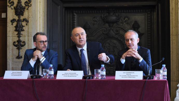 Didier Guillaume présente les mesures du plan pour l'amélioration du bien-être animal, le 28 janvier 2020, au ministère de l'agriculture