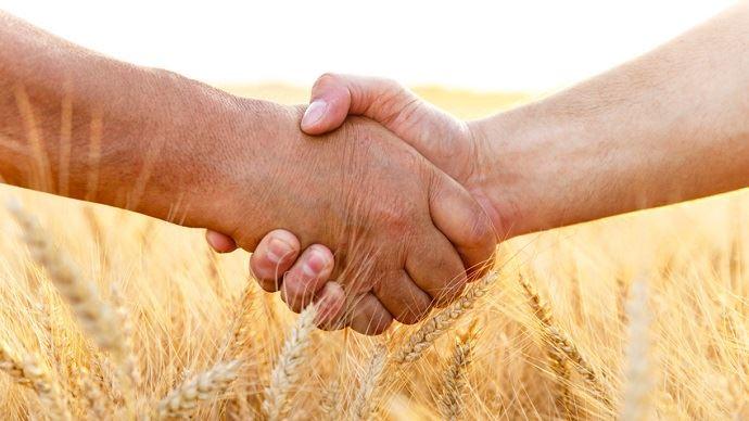 poignee de main devant un champ de ble