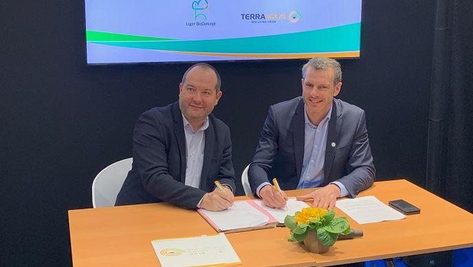 Marc Le Mercier, fondateur de Liger BioConcept et Maximin Charpentier, président de Terrasolis.